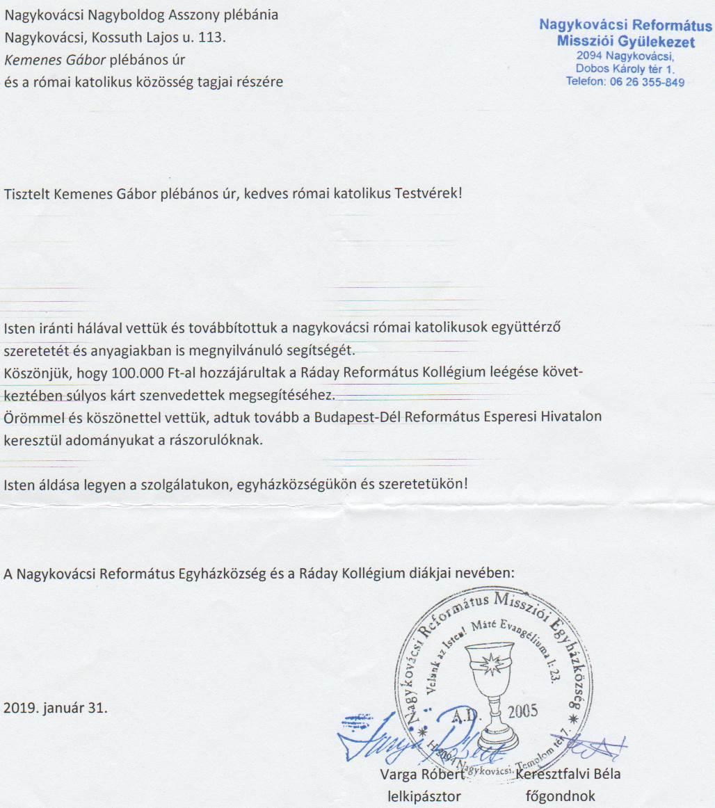 Nagykovácsi Református Egyházközség levele